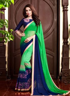 http://www.thatsend.com/shopping/lp/fvp/TESG244084/i/TE317300/iu/green-georgette-designer-saree  Green Georgette Designer Saree Apparel Pattern Printed. Work Print. Blouse Piece Yes. Occasion Festive, Diwali. Top Color Blue.
