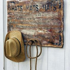 Hat Rack - yep, a place to hang your Hat, I stressed out the wood boards and lettered it and stressed it again to show age; give it a little bit of character, Hang-it-Up roy@roysigns.com ship the USA