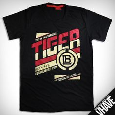 Asian size M -- V048.Tiger team (Black) : Unique Hand Screen Printed Vintage Graphic T-shirt --- Men Women Red Sport Baseball Japan Retro
