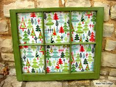 Vintage Window Upcycle Retro Christmas Trees by BlackTreeCottage, $75.00