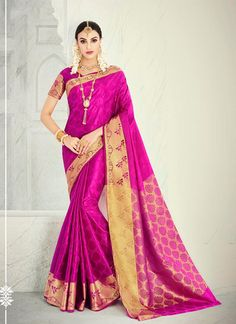 b486620d3 Gratifying Banarasi Silk Patch Border Work Designer Saree Tamil Brides