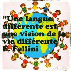 """""""Une langue différente est une vision de la vie différente"""" Federico Fellini. www.linguatoys.com #langues #bilinguisme #apprentissage #enfants #monde #jouets #bilingues #livres #Linguatoys #languages #bilingual #toys #kids #world #books"""