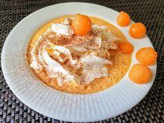 Sárgadinnye krémleves Izu, Hummus, Panna Cotta, Pudding, Ethnic Recipes, Desserts, Food, Flan, Postres