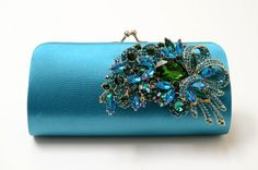 Rhinestone Bridal Clutch in Teal - Bridesmaid Clutch - Formal Clutch - Peacock Color Rhinestone Clutch - Something Blue. $65.00, via Etsy.