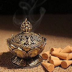 XIDUOBAO Lotus Flower Incense Burner Alloy Metal Buddha Incense Burner Holder Candle Holder Censer- Buddhist Decor,Home Decoration. (L) *** Be sure to check out this awesome product. (This is an affiliate link and I receive a commission for the sales) Unique Candle Holders, Unique Candles, Sandalwood Incense, Pooja Room Door Design, Pooja Rooms, Thing 1, Incense Sticks, Incense Burner, Dream Decor