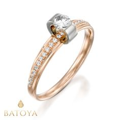 Rose gold ring White and rose gold ring Art Deco ring by BATOYA