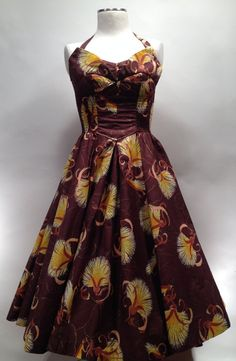 ALFRED SHAHEEN Vintage 1950's Hawaiian Tiki Halter Pinup Wiggle Sarong Dress Size Medium. Excellent Condition.