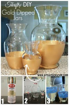 Easy DIY Gold Dipped Jars - Do It Yourself - Thrift Store for (compared to retail of - artsychicksrule Painted Candlesticks, Painted Glass Vases, Clear Glass Vases, Glass Jars, Glass Paint, Spray Paint Vases, Vase Crafts, Gold Diy, Gold Dipped