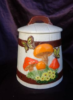 COOKIE JAR / Canister Barrel with Mushrooms Butterflies Vintage Kitchen Accessories, Cookie Jars, Canisters, Barrel, Butterflies, Stuffed Mushrooms, Unique Jewelry, Handmade Gifts, Etsy