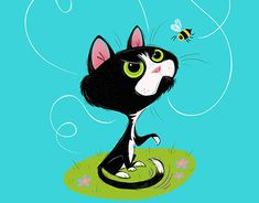 Presto the Cat vs. The Bee New Work, Childrens Books, Minnie Mouse, Disney Characters, Fictional Characters, Bee, Behance, Illustrations, Cats