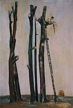 Fred Williams   (Australia, 1927–1982), Tree loppers,1955, oil on  board,102.0 x 70.5 cm