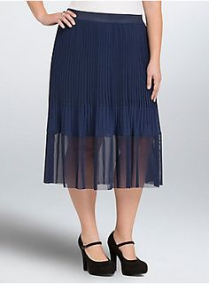 "<p>Elegance is redefined on this navy blue midi skirt. A pleated chiffon top lends a hint of movement to the ultra comfy elastic waistband. But the hem...with a perforated mesh panel that lends to even <i>more </i>mesh, we can't wait to wear this out, about, and all over.</p>  <ul> 	<li>Size 1 measures 29 1/2"" from center front</li> 	<li>Polyester/spandex</li> 	<li>Hand wash cold, line dry</li> 	<li>Imported plus size skirt</li> </ul>"