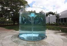 Commissioned by CPFL, an energy company in Campinas, Brazil, where most power comes from lake water by means of turbines that generate electricity.   Caribdis celebrates this type of energy in visible form.  It features a swirling vortex that symbolises the power and movement of a turbine.  By deploying the vortex within a transparent cylinder, one can fully experience the drama and movement within. photo courtesy of Marcello Dantas