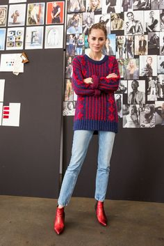 This festive new sweater is truly luxurious in weight, feel, and look. Detailed with deep ribbed cuffs, crew neck, and hem in contrasting navy thread, Wilma provides maximum warmth, comfort, and style. One of Anine's favorite sweaters ever, this chic Fair Isle knit goes perfectly with cropped light wash denim and our Stevie Boots in Red. - Red and Blue - 40% viscose, 40% polyester, 20% wool - Made in Turkey - Handwash only