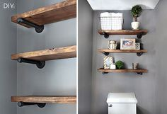 10 Ideal Cool Tips: Floating Shelves Design Bathroom Ideas floating shelf above bed bathroom shelves.Floating Shelves Vanity Home Office floating shelf over couch mirror.Floating Shelves Kitchen How To Build. Wood Closet Shelves, Ikea Bathroom Shelves, Diy Wooden Shelves, Rustic Shelving, Diy Pipe Shelves, Industrial Pipe Shelves, Ikea Wall, Industrial Bathroom, Shelving Ideas