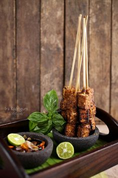 Sate Tempe - Indonesian Tempe satay serves with spicy sweet sauce