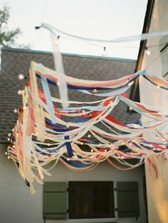 Streamers and cafe lights.