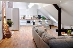 Looking for some inspiration to decorate a small loft apartment? Take a look at these five fabulous compact loft dwellings. Penthouse Apartment, Attic Apartment, Attic Rooms, Apartment Design, Apartment Living, Apartment Layout, Apartment Ideas, Living Room, Attic Bathroom