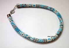 Aztec Design Bead Crochet Necklace  Tribal Design by alevduzen