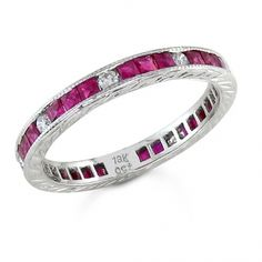 BF1329 - #22402  18k white diamond ring 0.21ct. round 1.02ct ruby (call for pricing)