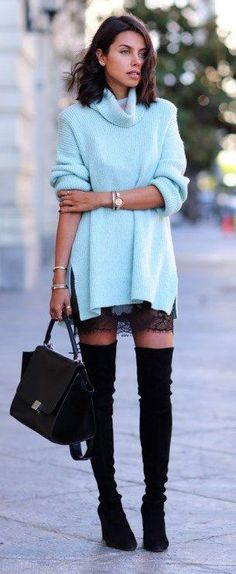 How to wear: Lace + knit? / Pl: jak łączyć: koronka + sweter?fall #fashion / light blue