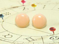 Peach Pink Stud Earrings 20 mm  Chunky Bright Pastel by biesge, $14.90