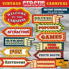 Vintage Circus Carnival Party Signs You can use this signs for party signs, wall decorations, centerpieces, table decorations or any other ideas for your Circus Carnival Birthday Theme!  ABOUT THE PRODUCT - This listing includes 11 print-ready PDF files, ready to print on US Letter size (8.5x11 inches) and A3 size paper (no changes can be made). - You must have the LATEST ADOBE READER to open PDF file that you can download for free here: http://get.adobe.com/reader/ - After purchasing, you…