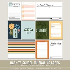 This set of ten digital journaling cards is perfect for pocket page protectors, scrapbooking and mini-books. Life Journal, Journal Cards, School Days, Back To School, Project Life Album, Page Protectors, Life Page, Pocket Scrapbooking, Digital Journal