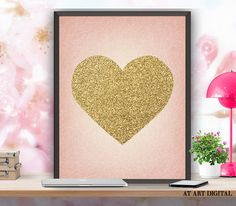 Your place to buy and sell all things handmade Printable Art, Printables, Nursery Decor, Wall Decor, Heart Of Gold, Poster Wall, Wall Art Prints, Gold Decorations, Unique Jewelry