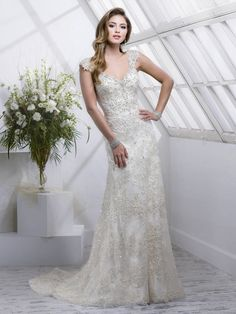 2fe28a811 Sottero and Midgley - SIMONE, DISCONTINUED - Gorgeous beaded embroidered  lace on tulle featuring dazzling