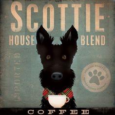 Scottie Coffee Company Scottish Terrier original graphic art on canvas 12 x 12 x 1.5. $80.00, via Etsy.