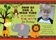 Jungle Safari Zoo birthday invite