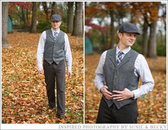 fall #wedding groom outfit with hat and vest