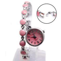 FW934B Neue glänzende silberne Band runden rosa Zifferblatt-Dame-Frauen-Anhänger-Armband-Uhr