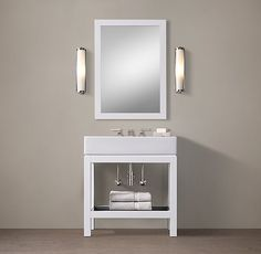 RH's Hutton Single Console Washstand:This versatile collection brings a spare, Parsons-like sensibility to the bath. Barn Bathroom, Bathroom Renos, Bathroom Fixtures, Bathroom Furniture, Bathroom Storage, Powder Room Vanity, Console Sink, Custom Vanity, Vanity Sink