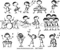 Illustration of set of Music Doodles vector art, clipart and stock vectors. Stick Men Drawings, Music Drawings, Tattoo Painting, Music Doodle, Stick Figure Drawing, Doodle People, Doodle Art Journals, Cartoon Sketches, Watercolor Paintings