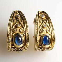 Etruscan Earrings w/ Blue Sapphires & Diamonds in 14K Gold