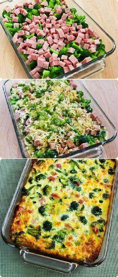 Omelete assada de Brócolis com Presunto 4-6 copos de brócolis pré cozido 1-2 copos de presunto em cubos 1 copo grande de Mozzarella 1/3 copo cebolinha verde picada 8-10 batidos a ponto de omelete