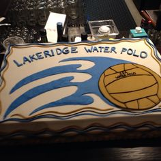 Water Polo Cake for Awards Banquet Lakeridge Water Polo Team 2014 Dinner Men's Water Polo, Cycling Gloves, Cycling Gear, Bike Boots, Cycling Backpack, Polo Team, Swimming Diving, Helmet Design, Swim Team