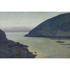 """Monhegan, Maine (Hope),"" Nicholas Roerich, 1922, oil on burlap, 23 x 34"", private collection."