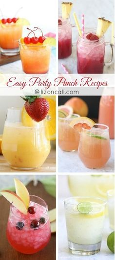 The best non-alcoholic party punch recipes.  Easy party punch recipes for all occasions, holidays and kids.