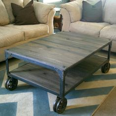 Industrial coffee table: See how to build this World Market knock-off yourself.