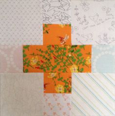 March Bee Blocks. cutting instructions given, uses charms in the corners