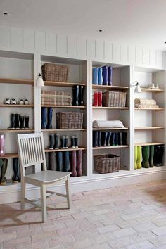 Agatha O l Mudroom with open cabinet shelves and brick flooring. Utility Room Designs, Utility Room Ideas, Utility Room Storage, Utility Shelves, Storage Room, Storage Ideas, Boot Room Utility, New Interior Design, Brick Flooring
