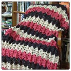 Handmade Chevron Crochet Afghan (White, Pink, Navy Blue) EXAMPLE