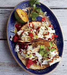 Grilled Baja Fish Tacos With Plum Tomatoes, White Onion, Jalapeno Chilies, Chopped Fresh Cilantro, Fresh Lemon Juice, Olive Oil, Chopped Fresh Cilantro, Garlic Cloves, Mahi Mahi Fillets, Lime, Corn Tortillas, Green Cabbage, Crema Mexican, Cilantro Leaves