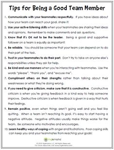 Tips for Being a Good Team Member Teach kids what it means to be a team player with this helpful worksheet from Mylemarks! Teamwork Activities, Teamwork Skills, Social Skills Activities, Team Building Activities, Coping Skills, Therapy Activities, Life Skills, Team Member, A Team