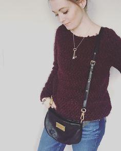 Buffalo burgundy sweater, grey tshirt, American eagle boyfriend destroyed jeans, Marc Jacobs Q Percy