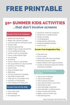 Kids don't need screens to fend off boredom! These screen-free summer activities… Kids don't need screens to fend off boredom! These screen-free summer activities for kids will get them outside and foster their imagination and creativity. Summer Holiday Activities, Summer Activities For Toddlers, Learning Activities, Baby Activities, Summer Crafts, Holiday Fun, Free Summer, Summer Kids, Kids Summer Schedule
