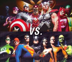 (Avengers and Justice League) By: Alex Ross. Marvel Vs, Marvel Comics, Arte Dc Comics, Dc Comics Superheroes, Comic Book Artists, Comic Book Characters, Comic Artist, Comic Character, Comic Books Art